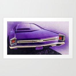 1968 Purple Muscle Car Back End Sketch Art Print
