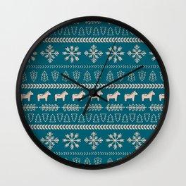 Scandinavian Christmas in Teal Wall Clock