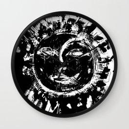 Sun and moon black ad white drawing Wall Clock