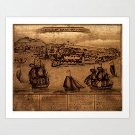 Map Of Curacao 1800 Art Print