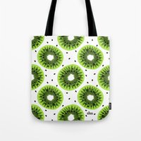 kiwi Tote Bags featuring Kiwi by beach please