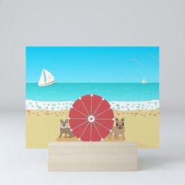 French Bulldog Romance on the Beach Mini Art Print