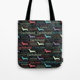 Dachshund silhouette and word art pattern Tote Bag