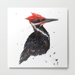 Woodpecker painting, bird paintings, bird lover gift, pileated woodpecker Metal Print