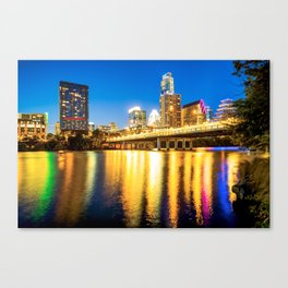 Austin Texas Downtown Skyline at Night on the Colorado River Canvas Print
