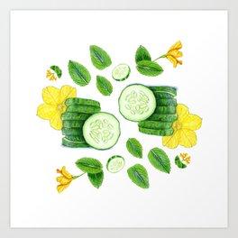 Cucumber and Mint Art Print