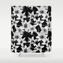 White lilies on a black background . Shower Curtain