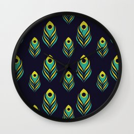 Peacock Feather Pattern on Black Wall Clock