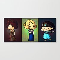downton abbey Canvas Prints featuring Downton Abbey - The Crawley Sisters by Nitya Chirravur