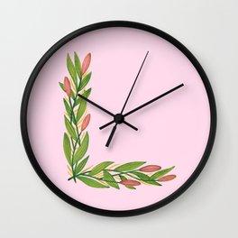 Leafy Letter L Wall Clock