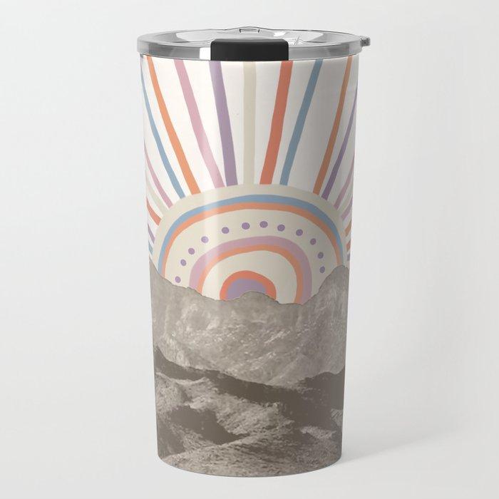 Bohemian Tribal Sun / Abstract Vintage Mountain Happy Summer Vibes Retro Colorful Pastel Sky Artwork Travel Mug