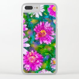 Pink Daisies Flower Party 2 by Jennifer Berdy Clear iPhone Case