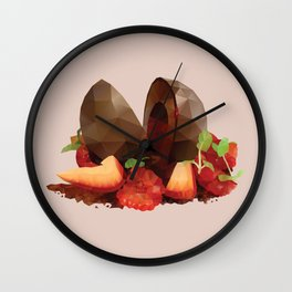 Chocolate Mousse Dessert with Raspberry Centre polygon art Wall Clock