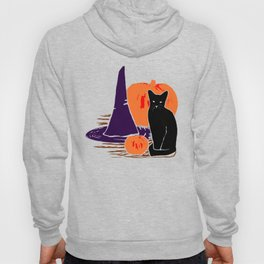 Witch Cat Pumpkin Woodcut Halloween Design Hoody
