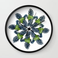 tits Wall Clocks featuring Circling Blue Tits by BridJess