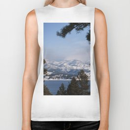 Snow Capped Mountain Pine Tree Lined Lanscape Colored Canvas Wall Art Print Biker Tank
