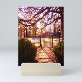 Sunset thru Church Gate at Rugby Mini Art Print