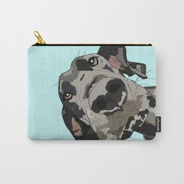 Great Dane in your face (teal) Carry-All Pouch
