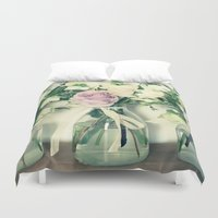 three of the possessed Duvet Covers featuring Three by Hilary Longley