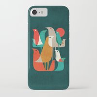 navy iPhone & iPod Cases featuring Flock of Birds by Picomodi