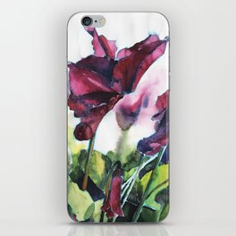 Cyclamen watercolor, pink flowers iPhone Skin