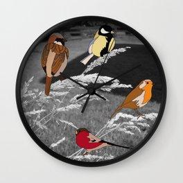 Birds on Grass Wall Clock