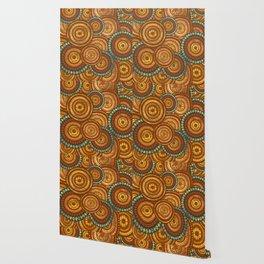 Circular Ethnic  pattern pastel gold and brown, teal Wallpaper