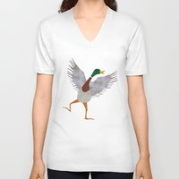 duck V-neck T-shirts featuring Duck by Jade Young Illustrations