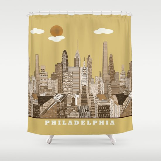 Philadelphia skyline vintage Shower Curtain