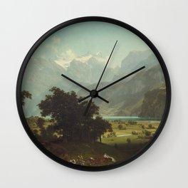 Lake Lucerne by Albert Bierstadt Wall Clock