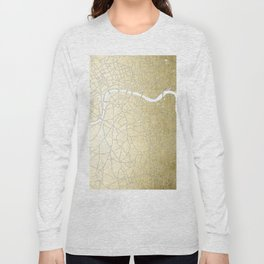 Gold on White London Street Map II Long Sleeve T-shirt