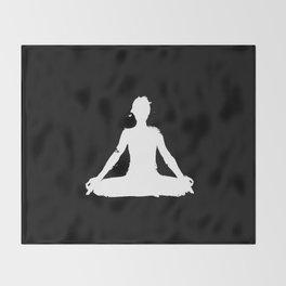 yoga pose chakra black and white silhouette  Throw Blanket