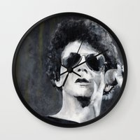 lou reed Wall Clocks featuring Lou Reed by Vikki Sin