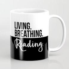 Living. Breathing. Reading. - B&W Mug