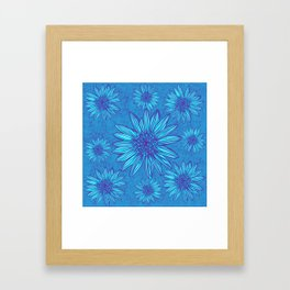 Winter Daisies in ice blue Framed Art Print