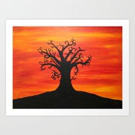 Autumn Tree Silhouette Sunset Acrylic Painting Art Print