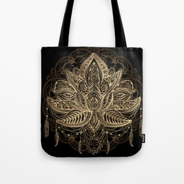 Lotus Black & Gold Tote Bag