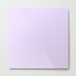 Chalky Pale Lilac Pastel Mini Gingham Check Plaid Metal Print