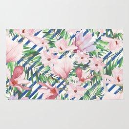 Modern blue white stripes blush pink green watercolor floral Rug
