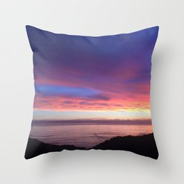 Purple and Pink Summer Beach Sunset Throw Pillow