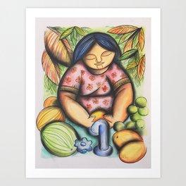 She washes the fruit Art Print