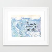 salt water Framed Art Prints featuring Salt Water by Type Of Design