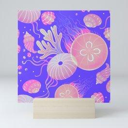 Ocean life - neon Mini Art Print