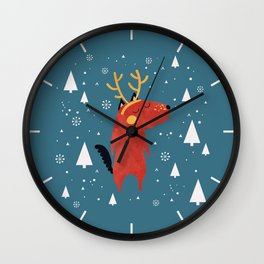 Merry Christmas Dog Card 2 Wall Clock