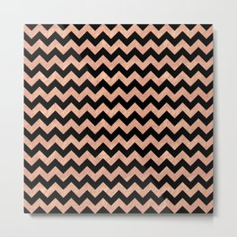 Chevron Pattern Rose Gold Metal Print