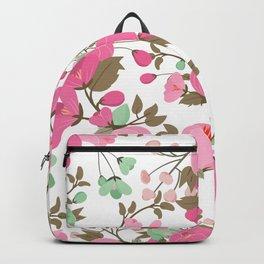 Botanical pink mint green girly floral illustration Backpack