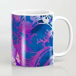 Japanese Stencil Pattern #2 | Flowing Water Waterwheel Basket Weave |Blue & Purple Watercolor Coffee Mug