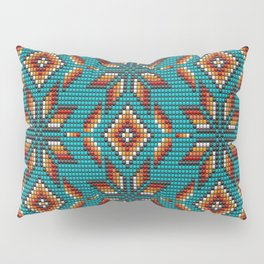 Modern colorful beaded boho aztec kilim pattern on teal Pillow Sham