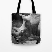 rhino Tote Bags featuring rhino by Cindy Munroe Photography