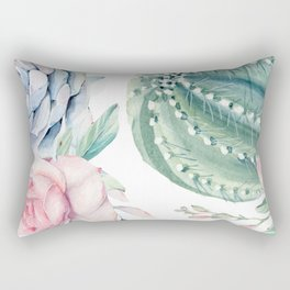 Cactus Rose Succulents Garden Rectangular Pillow